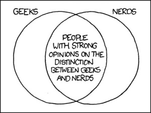 """(From comic: """"The definitions I grew up with were that a geek is someone unusually into something (so you could have computer geeks, baseball geeks, theater geeks, etc) and nerds are (often awkward) science, math, or computer geeks. But definitions vary."""")"""